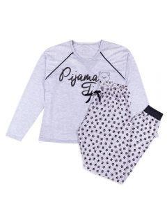Pijama Feminino Adulto Time Holla Mescla/Estampado