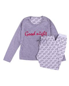 Pijama Feminino Longo Good Night com Punho Holla Mescla/Estampado