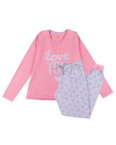 Pijama Feminino Adulto Love You List