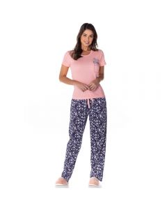 Pijama Meia Estação Margaridas Holla Salmão