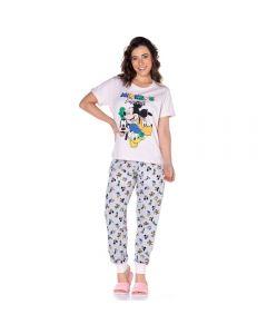 Pijama Meia Estação Mickey's Friends com Punho Disney Rosa