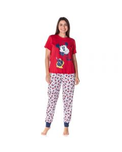 Pijama Meia Estação Minnie Mouse Disney Vermelho/Branco