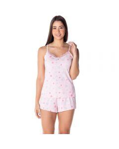 Pijama Poliamida Alcinha Corações Camila Moretti Coracao Rosa