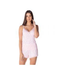 Pijama Poliamida Curto com Renda Camila Moretti Poa Rosa