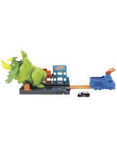 Pista Hot Wheels Ataque Triceratops Gbf97 Mattel - Verde