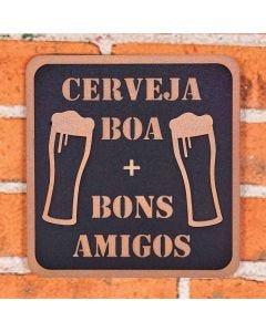 Placa Decorativa Cerveja Boa Forgerini - Preto