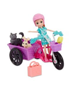 Polly Aventura de Bicicleta com os Bichinhos Mattel - GFR03 - Roxo