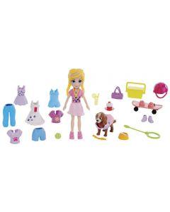 Polly Pocket Kit Boneca e Acessórios Mattel - GBF85 - Rosa Claro