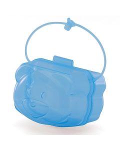 Porta Chupeta Urso com Alça Translucido Yoyo Baby  - Azul translucido