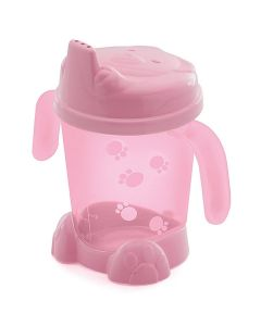 Porta Suco com Alça e Pé Urso Baby 175ml Adoleta Baby - Rosa translucido