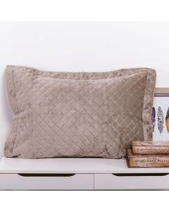 Porta Travesseiro 50cm x 70cm Plush 100% Poliéster Yaris - Taupe