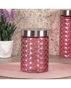 Pote de Vidro com Tampa Inox 1,1 Litros Solecasa - Rosa Claro