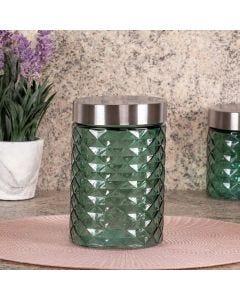 Pote de Vidro com Tampa Inox 1,1 Litros Solecasa - Verde Claro