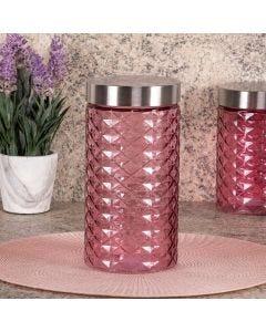 Pote de Vidro com Tampa Inox 1,6 Litros Solecasa - Rosa Claro