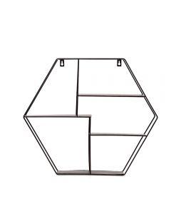 Prateleira De Metal Hexagonal 50Cm Yaris - Preto