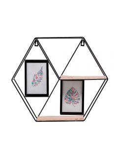 Prateleira De Parede Hexagonal Sun Asia - Preto