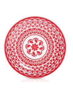 Prato Raso Floreal Renda Oxford - Vermelho
