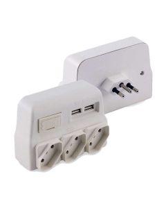 Protetor de Linha com 3 Tomadas 2 USB Force Line - Bivolt