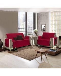 Protetor para Sofá Pluch 2 e 3 Lugares Hedrons Textil - Vermelho Rubi
