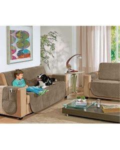 Protetor para Sofá Pluch 2 e 3 Lugares Hedrons Textil - Caqui