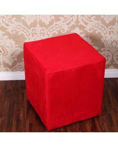 Puff Chenille para Quarto e Sala 38x38cm Havan - Vermelho