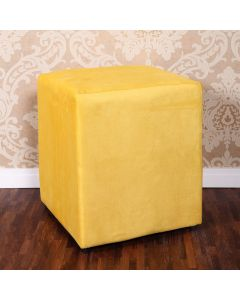 Puff Chenille para Quarto e Sala 38x38cm Havan - Amarelo