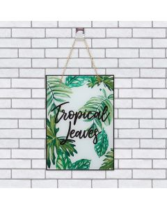 Quadro  De Vidro Tropical Leaves 20x28cm - Preto