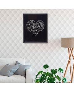 Quadro Decorativo Coração 20x25cm - Preto