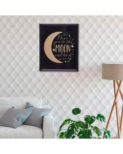 Quadro Decorativo Lua 20x25cm - Preto