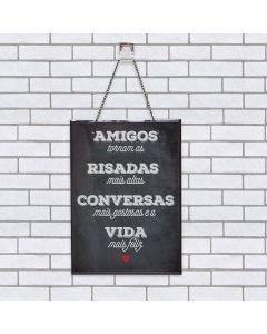 Quadro Vidro Amigos 20x28cm - Preto