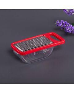 Ralador Retangular com Pote Coletor Inox 13,4cm Finecasa - Vermelho