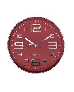 Relógio De Parede 30,5Cm Finecasa - Vermelho e Prata