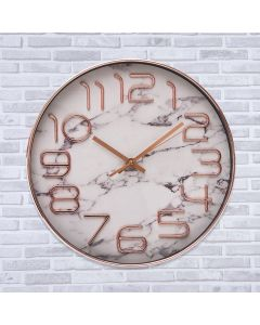 Relógio de Parede Efeito Mármore Finecasa - Branco