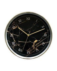 Relógio De Parede Indonésia 30,5X4,5Cm Solecasa - Preto Marmorizado