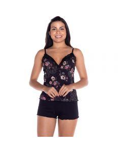Short Doll Viscose com Renda Camila Moretti Preto/Estampado