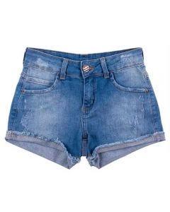 Shorts de 12 a 16 Anos Jeans Barra Virada Marmelada Azul