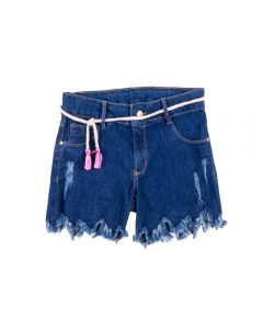 Shorts de 12 a 16 Anos Jeans com Cadarço Marmelada