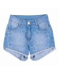 Shorts de 12 a 16 Anos Jeans Estrelas Marmelada Azul