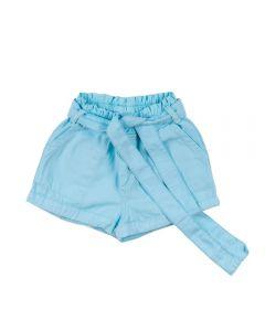 Shorts de 4 a 10 Anos Clochard com Cinto Marmelada Azul Céu
