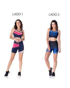 Shorts Dupla Face Fila Degrade Azul/Estampa Colorida