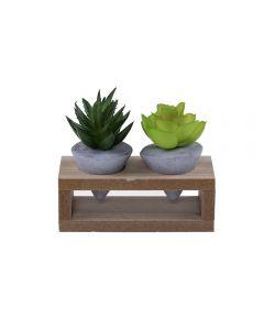 Suculenta Wood Com Suporte 11,5X5x10,5Cm House 36 - Cinza
