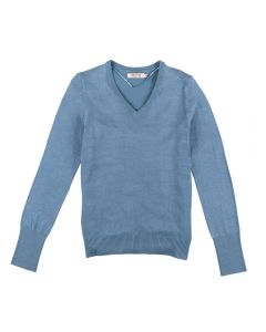 Suéter Feminino Adulto Decote V Contatho Azul