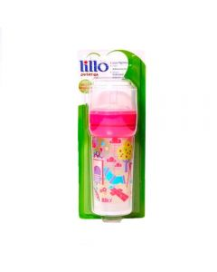 Super Mamadeira 260ml Divertida Bico Silicone Lillo - Rosa