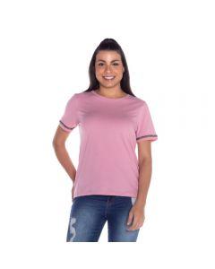 T-Shirt com Aplique de Brilho Patrícia Foster Rosa
