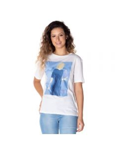 T-Shirt com Estampa e Paetê Patrícia Foster Branco