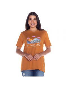 T-Shirt Estampada Patrícia Foster Mostarda