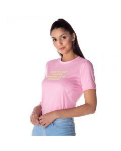 T-shirt Feminina Adulto Estampa Escrita Contatho Rosa