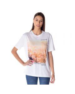 T-Shirt Feminina com Silk Contatho Branco