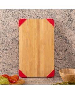 Tábua de Bambu e Silicone Retangular Finecasa - Vermelho