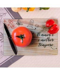 Tábua de Corte em Vidro 20x30cm Solecasa - Tomate